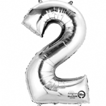"Silver Number 2 Mini-Foil Balloon (16"" Air) 1pc"